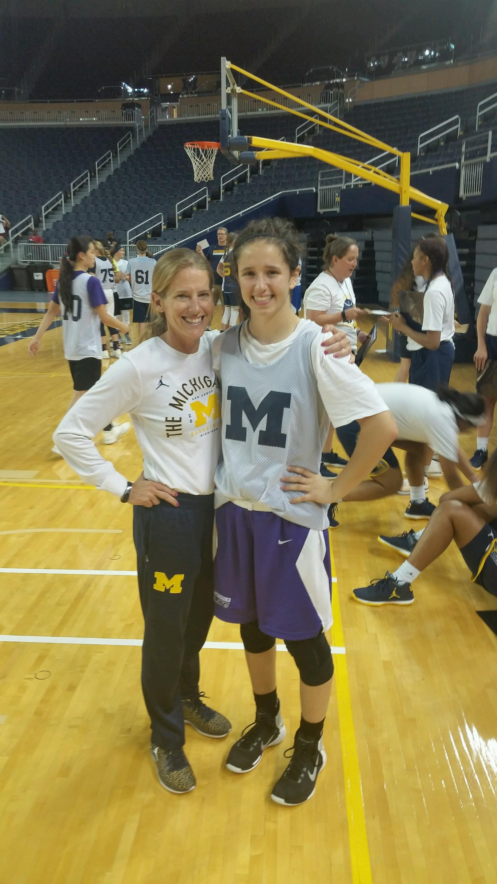 Katherine Lesavich with University of Michigan Women's Basketball Head  Coach Kim Barnes Arico in Ann Arbour, MI on 6.10.17.
